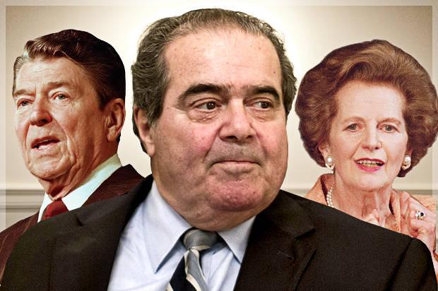 Ronald Reagan, Antonin Scalia, Margaret Thatcher (Credit: AP/Doug Mills/Haraz N. Ghanbari/Charles Tasnadi/Photo montage by Salon)